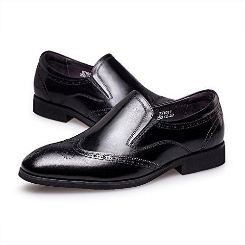 ZRO Men's Fashion Brogue Wingtip Oxford Slip-On Loafer Dress Shoes BLACK US 10