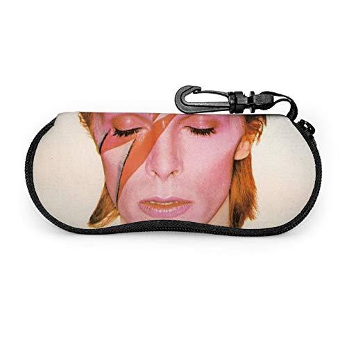 David Bowie - Funda blanda para gafas de sol, neopreno con cremallera y clip para cinturón para gafas, marcos, bolsa de transporte para maquillaje, llaves, lápices