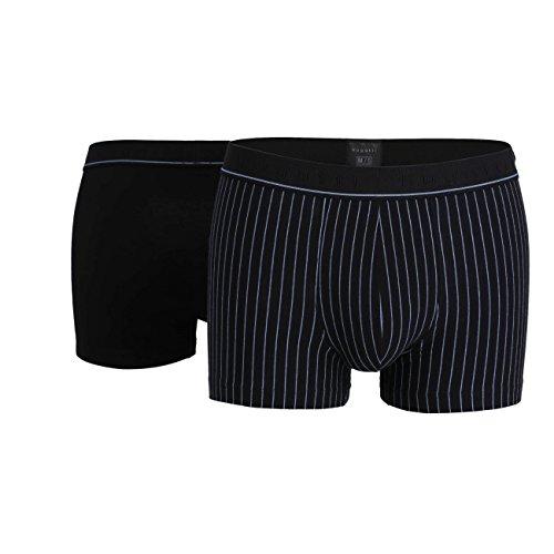Bugatti Herren Pants, Baumwolle, Single Jersey, schwarz gestreift, 2er Pack 8