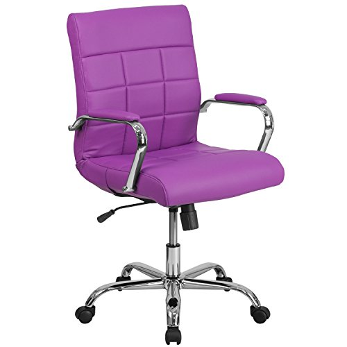 Flash Furniture Mid-Back Purple Vinyl Executive Swivel Office Chair with Chrome Base and Arms, BIFMA Certified