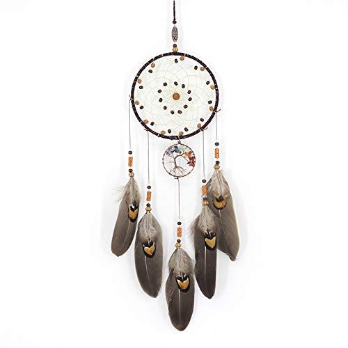 Yuanbbo Apanhador de sonhos de pena feito à mão, apanhador de sonhos de estilo nativo americano, pingente de rede para pendurar na parede, para decoração de casa, presente de bênção de festa de casamento