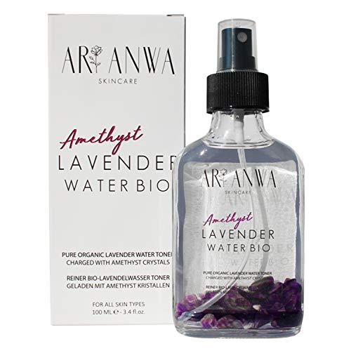 ARI ANWA Skincare® Lavendelwasser Spray Bio mit Amethyst Kristallen - Beruhigendes Gesichtswasser + Körperwasser in Glasflaschen - Ideal auch als Kissenspray - Schlafspray - Gesichtsspray Lavendel
