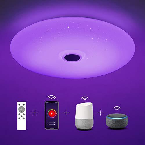 SHILOOK 24W Led Deckenleuchte Dimmbar mit Fernbedienung, Smart Deckenlampe Farbwechsel Kompatibel mit Alexa/ Google Home, 2050LM IP44 Rund Modern, für Wohnzimmer/ Schlafzimmer/ Badezimmer