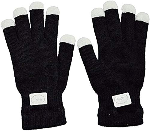 NEO+ Blinkende Handschuhe Glow 7 Mode LED Rave Light Finger Beleuchtung Mitt Schwarz -KINDERGRÖSSE