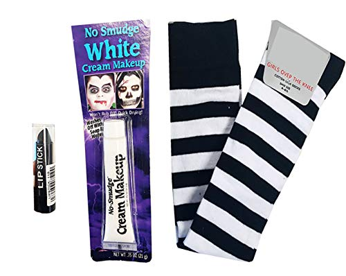 Wednesday Addams Costume Stripe Black White Socks Paint Lipstick Halloween by NeonCandyUK