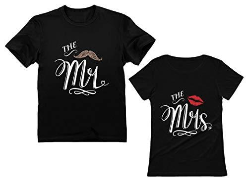 Mr & Mrs Gift for Couples Wedding, Anniversary, Newlywed Matching Set T-Shirt Men Large / Women Large Black