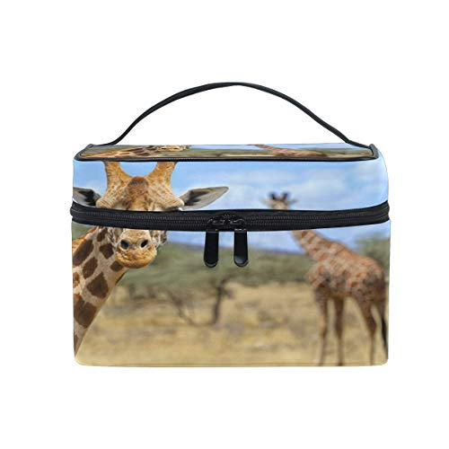 Makeup Bag, African Animal Giraffe Portable Travel Case Large Print Cosmetic Bag Organizer Compartments for Girls Women Lady