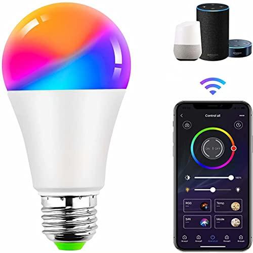 TTNAO WiFi Bombilla Inteligente E27 Tornillo,Regulable Bluetooth RGB 10W Multicolor LED Lámpara,Control por APP,Compatible con Alexa,Google Assistant,No Se Requiere Hub(1 Paquete)