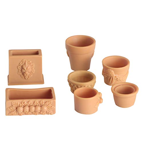 EXCEART 7Pcs 1:12 Puppenhaus Miniatur Blumentöpfe Feengarten Mini Töpfe Puppenhaus Miniatur Gartenmöbel Dekoration