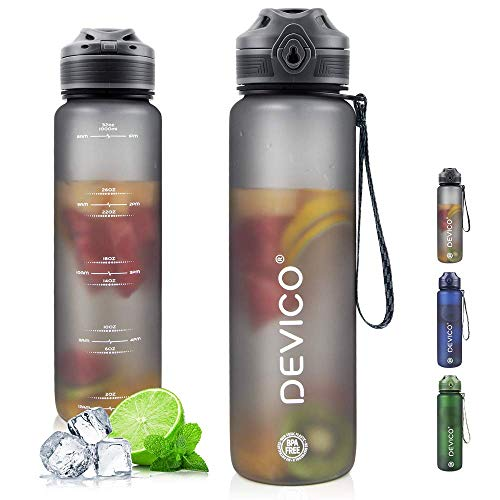 DEVICO 32oz Water Bottle with Time Marker, BPA Free & Frosted Tritan Plastic, Fast Flow & Leak Proof Flip Lid, Best Choice for Cycling, Running, Camping or Office Work