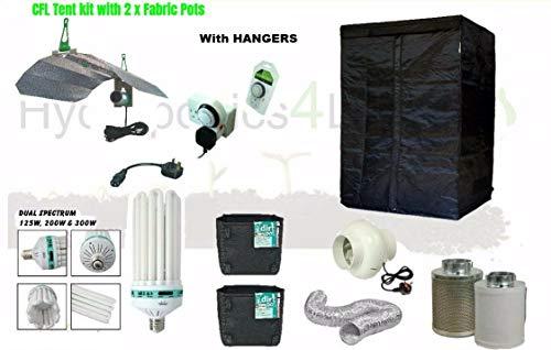 Complete CFL Hydroponic Grow Room Wardrobe Tent Fan Filter Light Kit 80x80x180 (300W Fan Kit - Hangers)