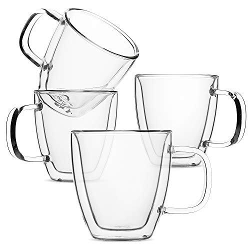 BTaT- Espresso Cups, Espresso Coffee Cups, Set of 4 (5 oz, 150 ml), Glass Coffee Mugs, Double Wall Glass Cups, Cappuccino Cups, Latte Cups, Latte Mug, Clear Coffee Cup, Espresso Glass, Glass Tea Cups