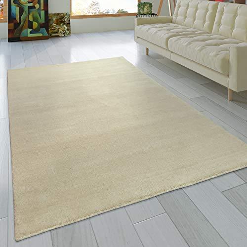 Paco Home Teppich Handgeknotet Gabbeh Hochwertig 100% Wolle Dezent Meliert Uni Creme, Grösse:80x150 cm