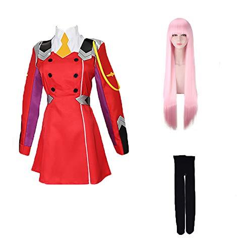 Updayday Darling in The FRANXX Disfraz de Cosplay Zero Two Disfraz de Cosplay Anime japonés Disfraz de Uniforme Rojo Disfraz de Navidad de Halloween para Mujeres niñas, Conjunto Completo.