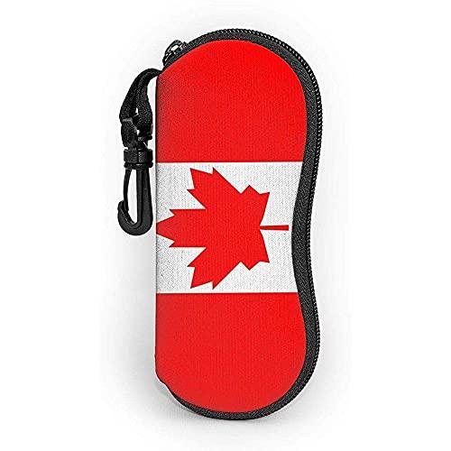 Gses Case Canada Flag.png con mosquetón Ultra Ligero Portátil Neopreno Cremallera Gafas De Sol Funda Suave