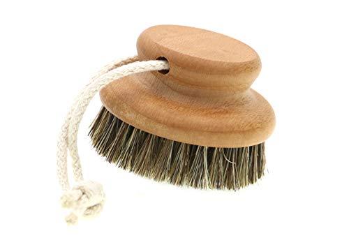 Knopf Massagebürste - Buchenholz mit einer WellFit - Borstenmischung (Fibre & Rosshaar), durchblutungsfördernd und perfekte Vorbereitung für weitere wirkungsvoller Pflege, Ø 7.5 cm, Made in Germany