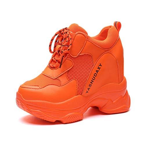 Dames Hoge Sneakers Mesh Plateau Wedges Enkellaarzen Mand Gemengde Kleuren Mode Hardlopen Wandelschoenen Veters Hoogte Verhoog Trainers