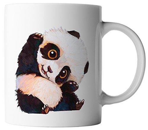 vanVerden Tasse Süßer Panda Bär Pandabär Süßes Baby Tiermotiv Tier Motiv Mug, Farbe:Weiß/Bunt