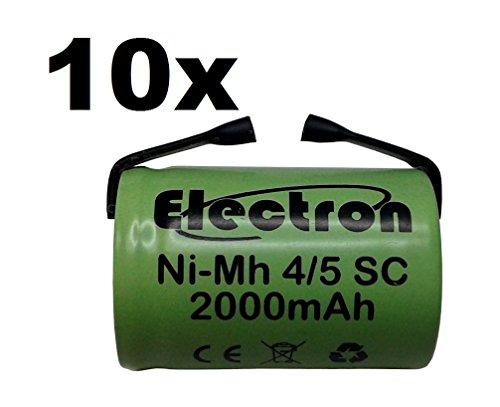 10 X Batteria ricaricabile NiMh 4/5 SC 1,2V 2000mAh 22x33mm subC a saldare linguette per pacchi batteria