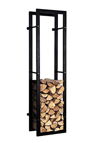 CLP Kaminholzständer KERI für die Wand, Kaminholzregal matt-schwarz, Holzbutler in bis zu 8 Größen wählbar, 25 x 60 x 100 cm