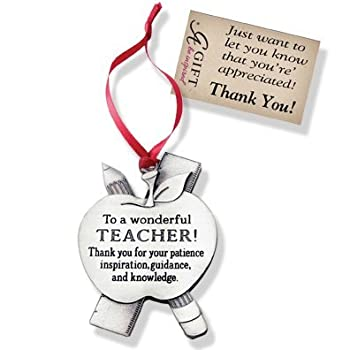To a Wonderful TEACHER - Pewter CHRISTMAS ORNAMENT - Thank You GIFT - Ribbon HANGER - Occupation