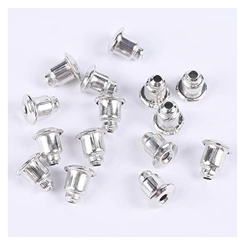 Juan-375 Tapón trasero para arete de 5 x 6 mm, cierre de tuerca, para joyas, tapas bloqueadas, accesorios para fijar pendientes y pendientes (color: rodio, tamaño: 5 x 6 mm, 200 unidades)