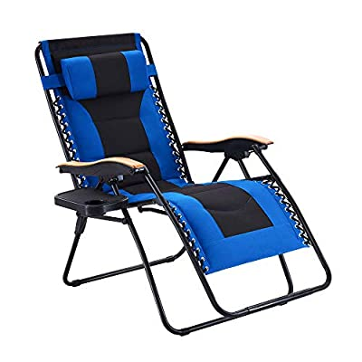 Oversize Padded Zero Gravity Chair Patio Lounge Chair with Cup Holder for Outdoor Beach Pool, Blue
