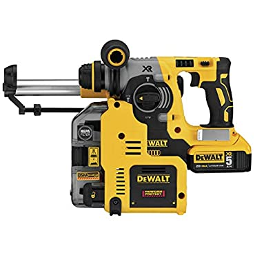 DeWalt DCH273P2DHO 20V MAX XR Brushless 1 L-Shape SDS Plus Rotary Hammer Kit with On Board Dust Extractor