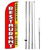Restaurant Breakfast Lunch Dinner Windless Feather Swooper Flag Banner Sign Kit rq-h