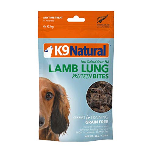 K9 Natural Grain-Free Air Dried Dog Treat Protein Bites, Lamb Lung 1.76oz