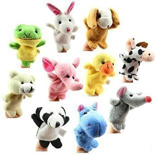 Juego de 10 marionetas de dedo de tela muñeca de felpa de bebé educativo mano dibujos animados animales juguetes para niños cumpleaños niños fiesta bautismo baby shower