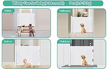 LSZE Barrière de Sécurité Rétractable Escalier pour Bébés Enfant et Chiens, 0-150 cm de Large, 87 cm de Haut, Barriere de Securite Enroulable pour Escaliers, Couloirs, Intérieurs et Extérieurs Blanc