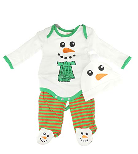 Baby Meisjes Jongens Katoen Onesie Eerste Kerst Snowman Romper 3 Stks Set Lange Mouw Katoen Bodysuit Streep Broek met Voeten & Beanie Cap Pasgeboren 3 6 Maanden 3-6 Months Kleur: wit