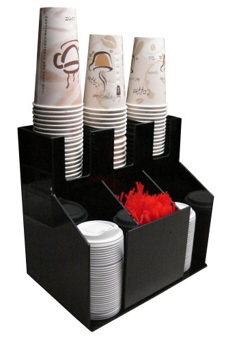 Cup and Lid Holder Dispenser Countertop Organizer 3wx2d Coffee Condiment Stirrer, Sugar Cup Caddy Organize and Display Your Coffee Counter station with Style (1011)