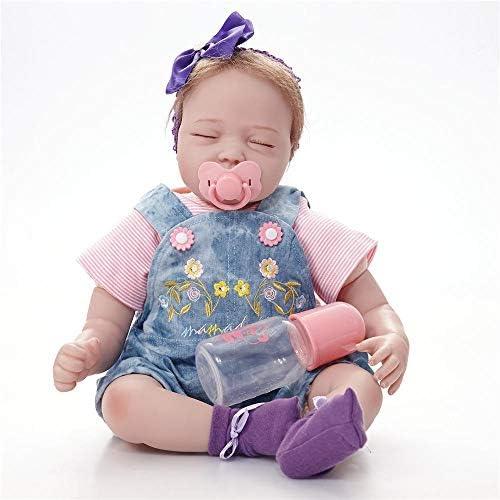 Hongge Reborn Baby Doll,Lebensechte Silikon Reborn Puppe lebensecht Neugeborenen Puppe Spielzeug Weißnachten Geburtstagsgeschenk 55cm
