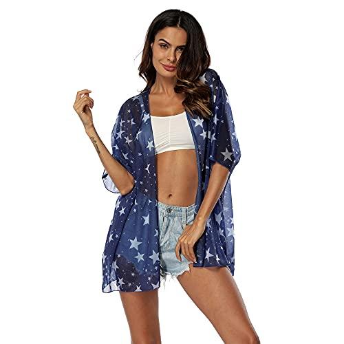 HUITAILANG Encubrimientos De Traje De Baño para Mujeres Cubiertas De Bikini De Playa De Gasa con Rebeca De Estrella Azul, Azul, Talla Única