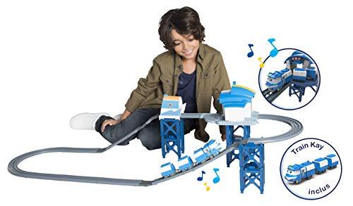 Robot Trains – Circuito Base de Kay 124 cm + Tren Kay automático y 3 Wagonsit Incluido – Juguete materno