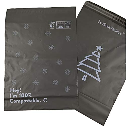 12''x15.5'' Compostable Snowflake Mailers Eco-Friendly Packaging Envelopes Biodegradable Delivery Poly Mailers(More Size&Color Available) 60 Pack Black