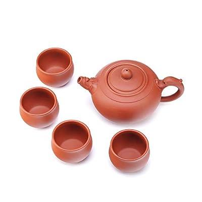 Handmade Yixing Zisha Tea Set,Large Capacity Ceramic Teapot with Set of 4 Tea Cups,Faucet Ruyi Tea Pot,14oz/400ml