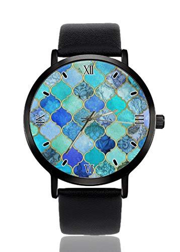 PALFREY - Reloj de pulsera con patrón de turquesa para negocios, casual, deportivo, de cuarzo, para mujeres, hombres, impermeable, unisex,