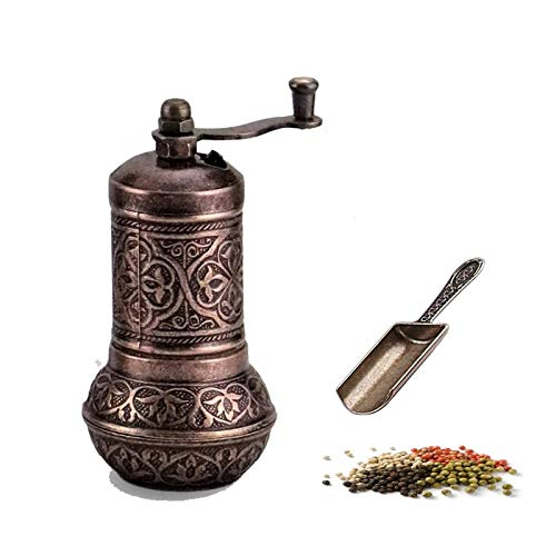 CHENMAO Bronze Design Pepper & Salt Grinder Coffee and Peppercorn Mill with Antique Looking Mini Shovel Salt Shaker Zinc Alloy Casting Best Carving Metal Adjustable Coarseness