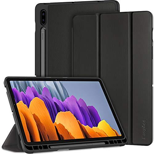 EasyAcc Hülle Kompatibel mit Samsung Galaxy Tab S7 2020 - Ultra Dünn mit Auto aufwachen/Schlaf Funktion Standfunktion Slim PU Leder Schutzhülle Passt für Samsung Galaxy Tab S7 2020, Schwarz