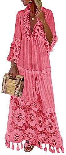 Minetom Langes Kleid Damen 3/4 Ärmel Floral Spitzenkleid V-Ausschnitt Strandkleid Boho Vintage Party Maxikleid Cocktailkleid Rosa 48