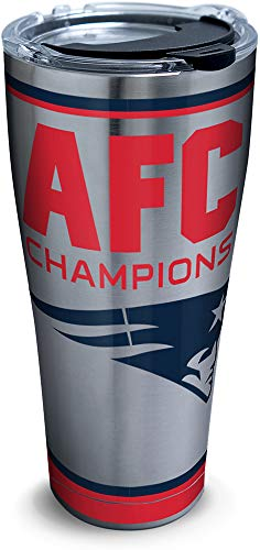 Tervis NFL New England Patriots AFC Champion Insulated Tumbler with Lid, 30 oz, Silver