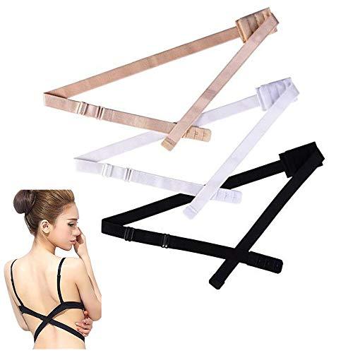 FLZONE Mujer Extensores de Sujetador,3 Pares Respaldo Bajo Sujetador Extensor Correa de Espalda Baja para Vestido Sin Espalda de Señora Desnudo Negro Blanco