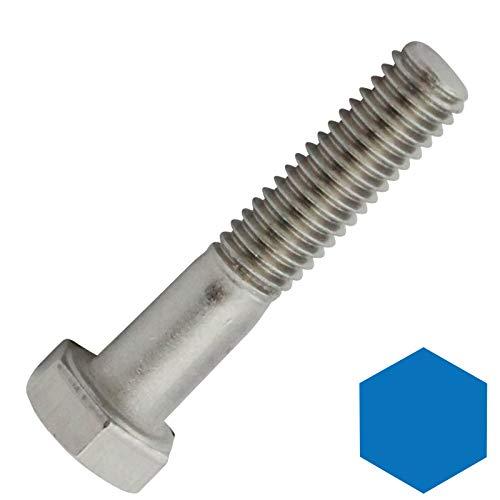 D2D | VPE: 10 Stück - Sechskantschrauben mit Schaft - M12x50 - DIN 931 / ISO 4014 - aus rostfreiem Edelstahl A2 V2A - Maschinenschrauben
