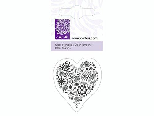 Mini tampon transparent Coeur fleur- Planche 5 x 6 cm Cart us