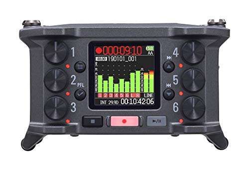 Zoom F6 Field Recorder/Mixer, Professional Field Recording, Audio for Video, 32-Bit Float Recording, 14 Channel Recorder, 6 XLR Inputs, Timecode, Ambisonics Mode, Battery Powered, iOS Wireless Control