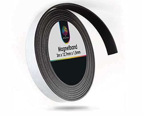 OfficeTree ® Magnetband 3 m - selbstklebend für sichere Magnetisierung von Plakaten Fotos Papier - extra starke Haftkraft an Whiteboard Magnet-Tafel Pinnwand - schwarz
