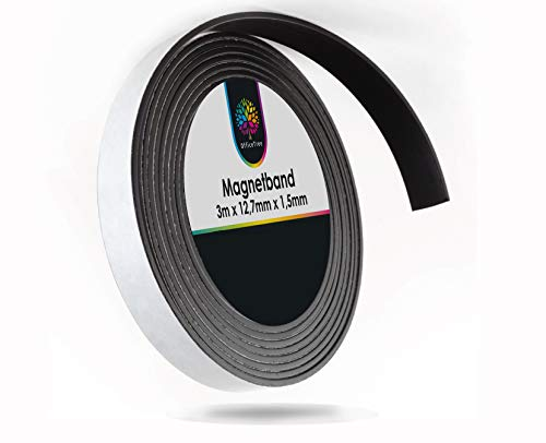 OfficeTree Cinta Magnetica Adhesiva 3 m - Tira de Iman para la imantación Fija de Carteles, Fotos, Papeles - Adherencia Extra Fuerte sobre Pizarra Blanca, Pizarra Magnética - Negro